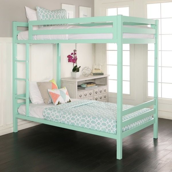 Twin over Twin Metal Bunk Bed   Mint | Toddler bedroom   girl