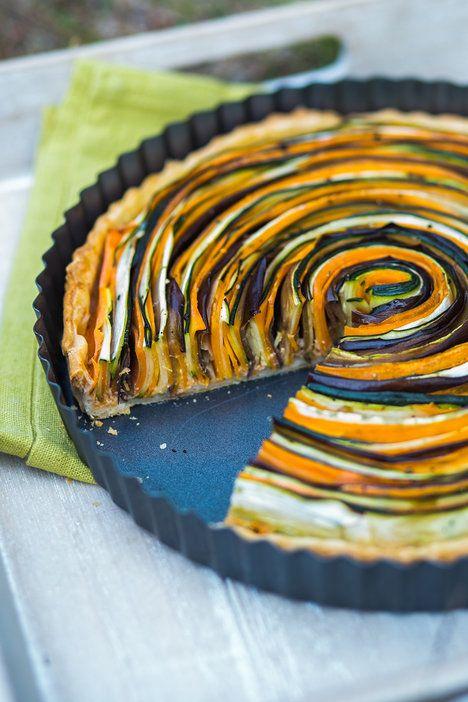 Spirálový zeleninový koláč