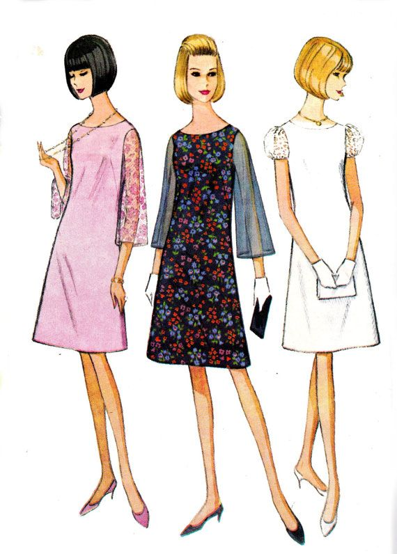 A line shift dress 1960s vintage sewing pattern mccall 39 s for Moda vintage