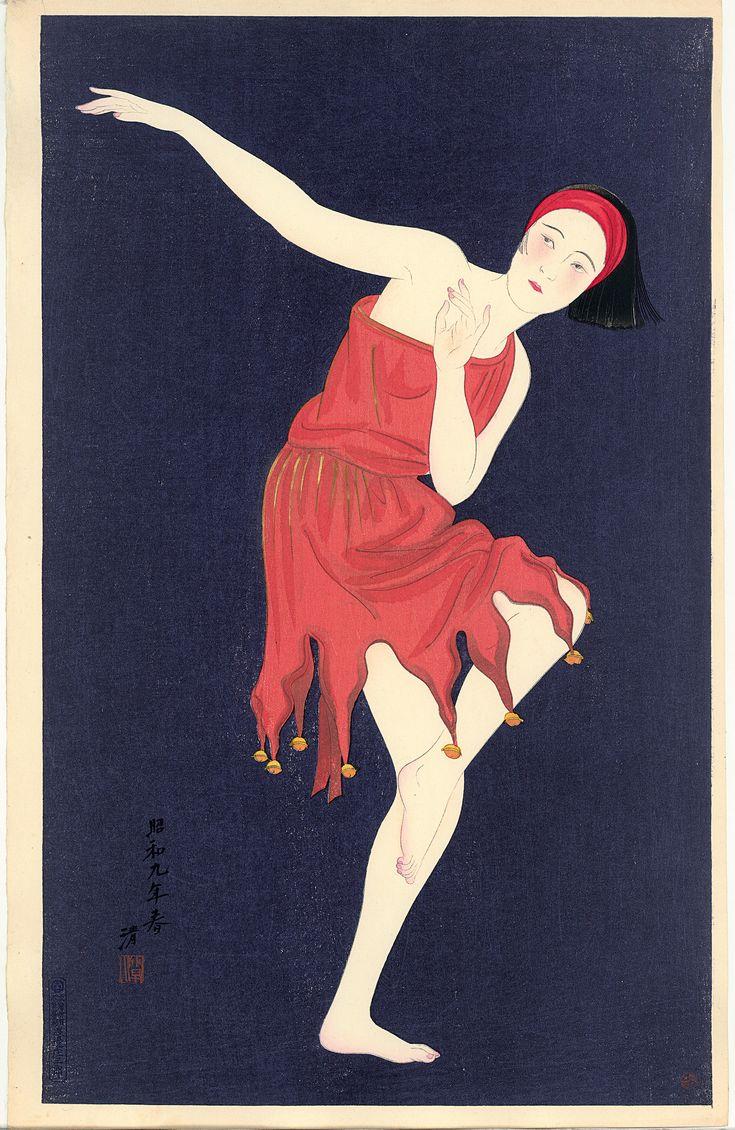 WESTERN STYLE DANCING, Kobayawaka Kiyoshi (1899-1948). Kleurenhoutsnede op papier, 1934, P0130. Elise Wessels Collection – Nihon no hanga
