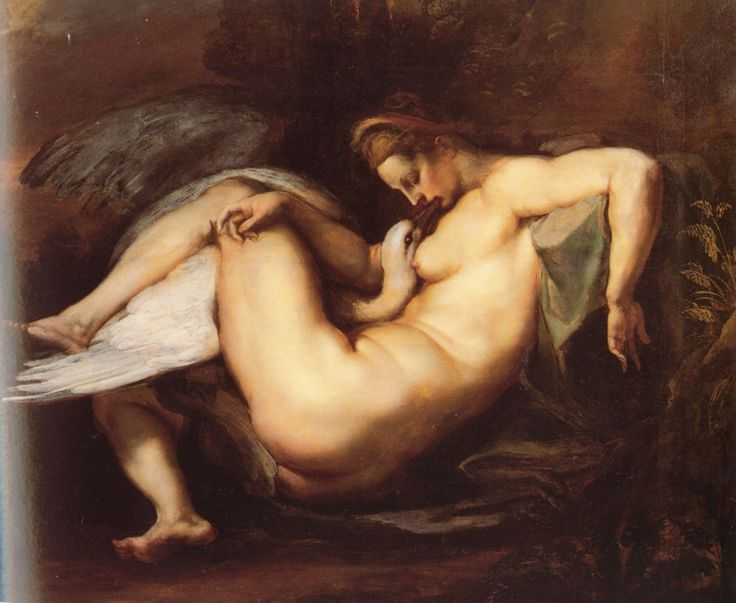 Leda and the Swan. It is a painting of Michelangelo showing the god Jupiter in the form of a swan to seduce and mate with the Queen of Sparta. It is possible that the frame has been destroyed.