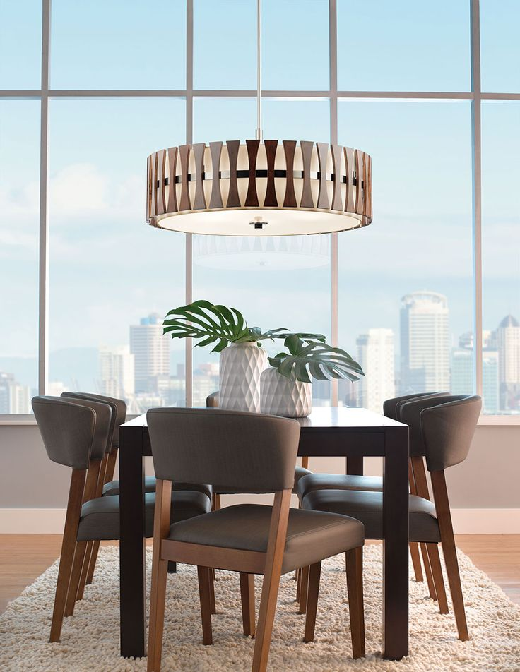 Cirus 5 Light Pendant Semi Flush In Auburn Stain AUB AuburnDining Room