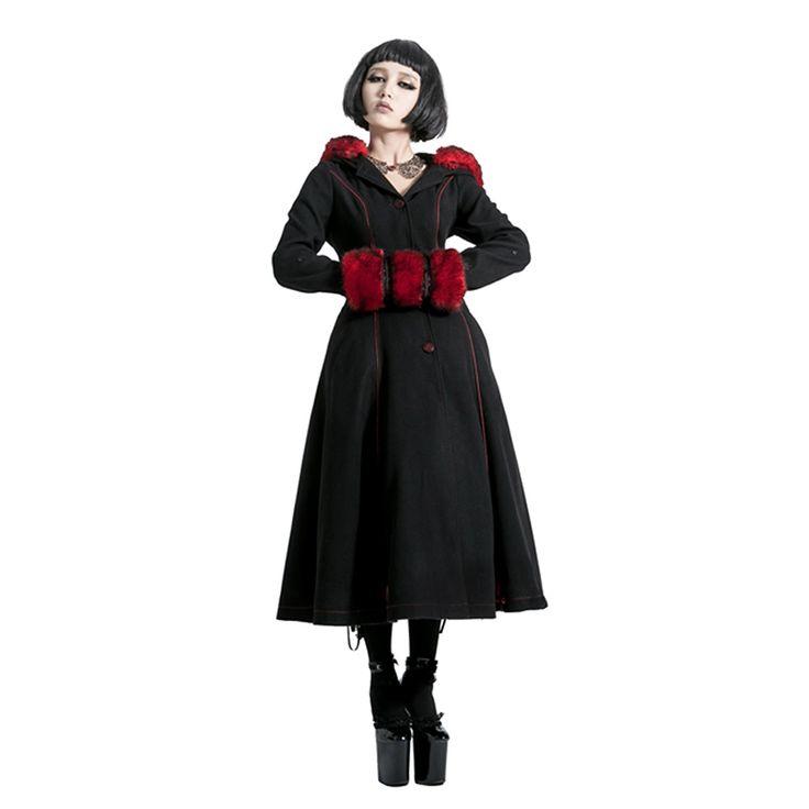 Готическая Лолита Стиль два носить шерстяные Пальто с искусственным мехом стимпанк осень зима модная одежда с длинными рукавами с капюшоном Длинные куртки купить на AliExpress