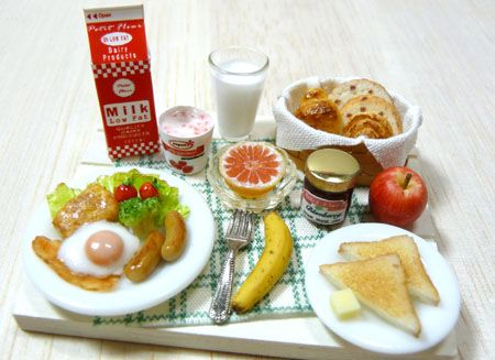 Dollhouse casa de muñecas en miniatura mañana el desayuno arcilla resina establece cómo hacer