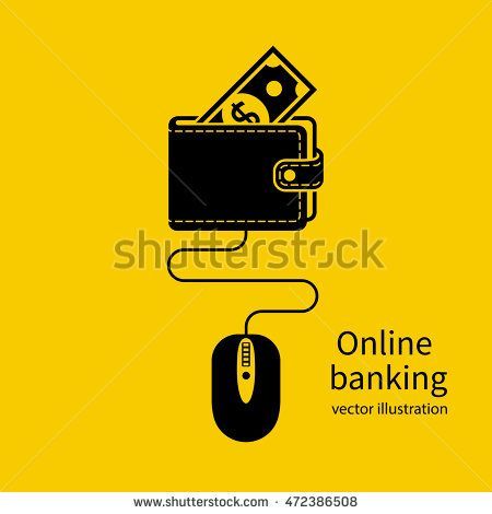 Online banking icon. Web account. Virtual money. Concept of management online wallet, computer mouse connected to wallet. Flat design vector illustration.