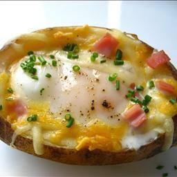 Breakfast will never be the same. Egg stuffed baked potato.