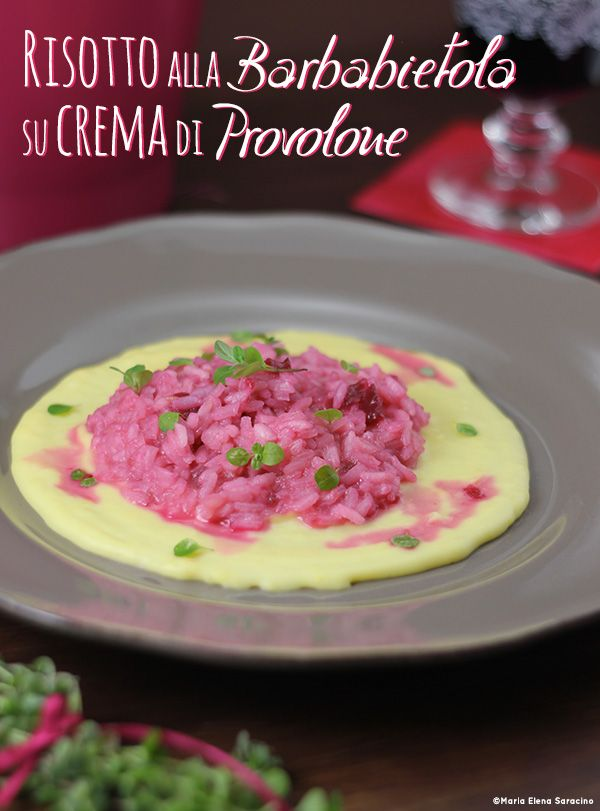 Risotto alla barbabietola su crema al Provolone.