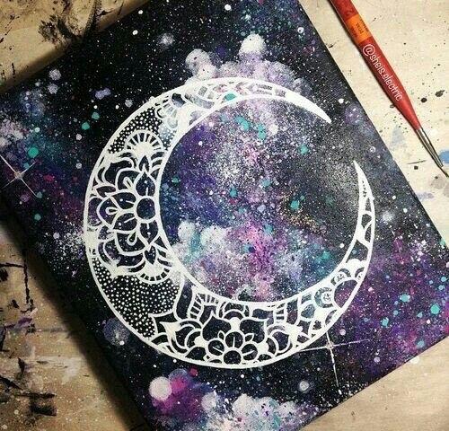 Galaxy background plus lace line art mandala moon? Gorgeous! – Melanie´s Farbenwelt