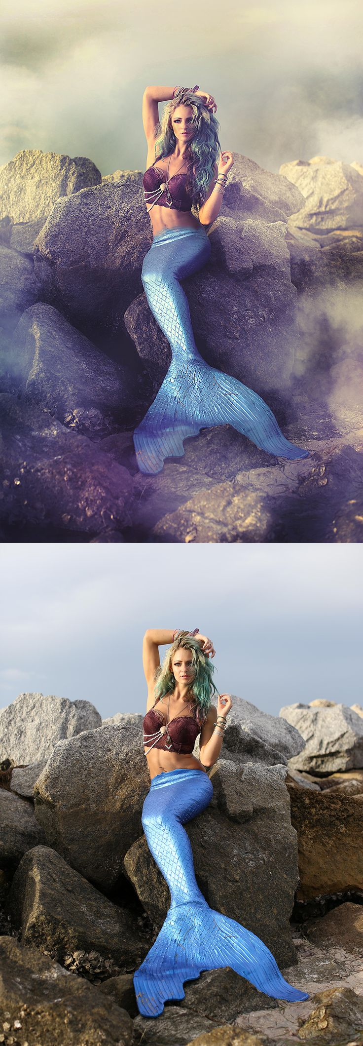 Photoshop retouching for a mermaid photo-shoot.