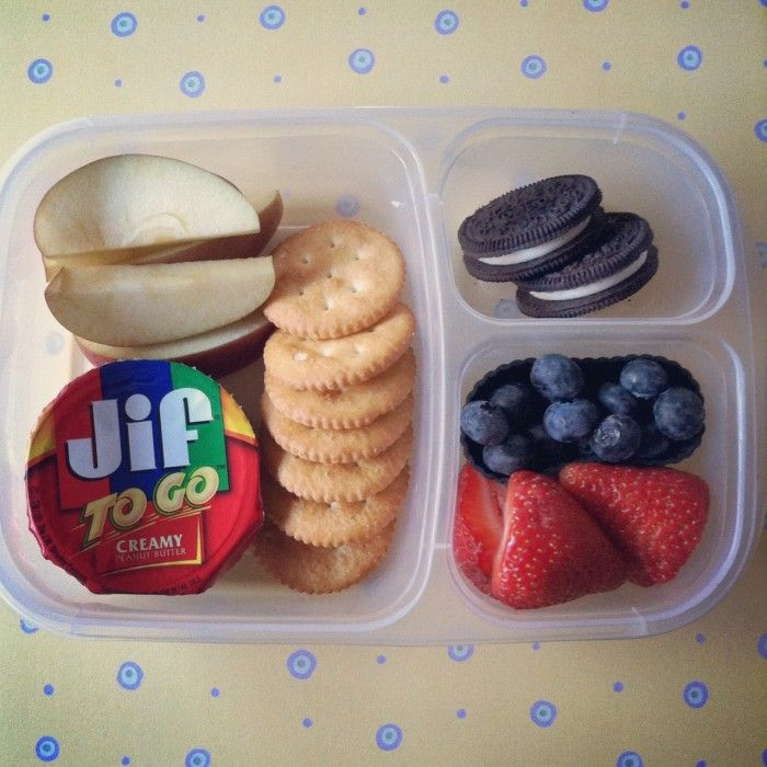 Dip and Snack Bento Lunch...substitute sliced apples with pre-packaged ones so they won't turn brown quickly; also seen nutella instead of Jif PB! Easy car ride snacks!