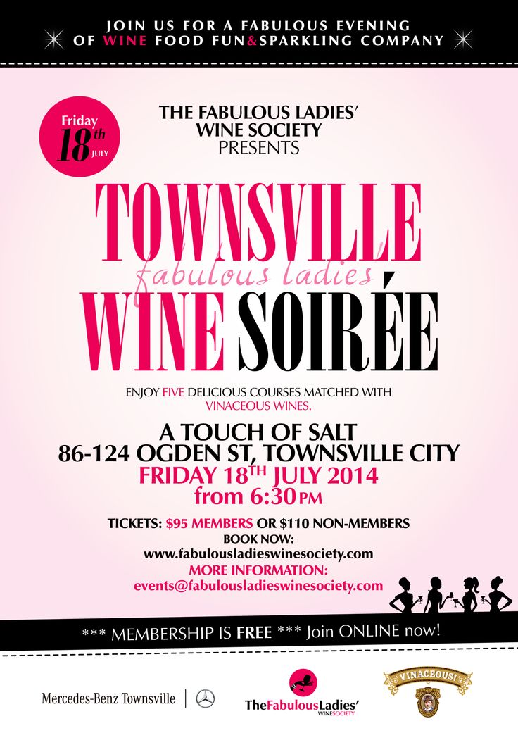Townsville Fabulous Ladies Wine Soiree with Vinaceous Wines. Friday 18th July 2014. Get your tix now: http://fabulousladieswinesociety.com/2014/05/townsville-fabulous-ladies-wine-soiree-friday-18-july-2014/