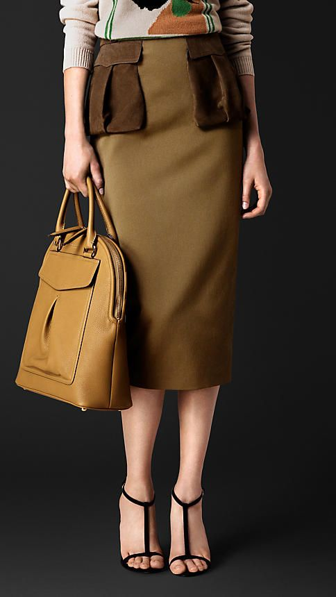 Dusty khaki Cotton Twill Pencil Skirt with Nubuck Pockets - 98 cotton 2 elastane with leather trim