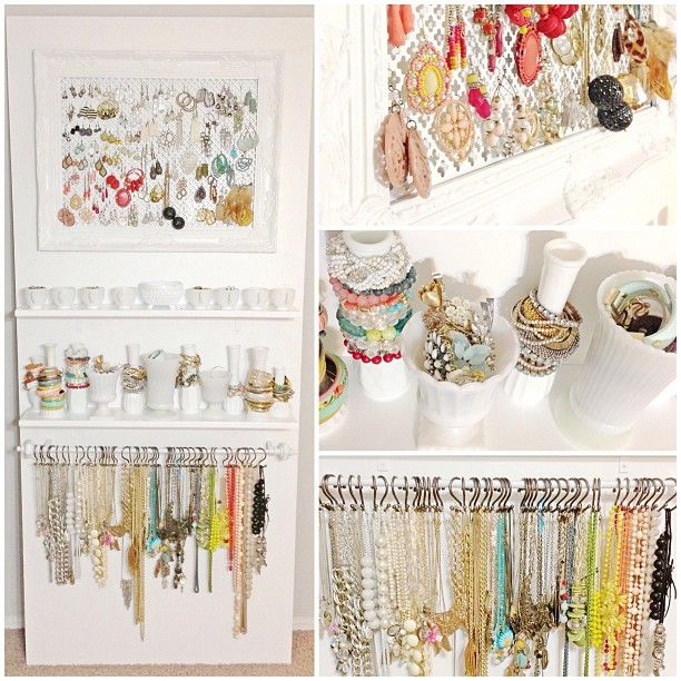 Multiple jewelry organization ideas for when we have multiple pieces of jewelry...