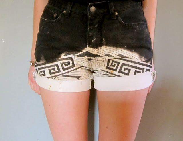 Prudence and Austere: DIY Dip Dye Tribal Shorts. Great idea to recycle an old pair of jeans