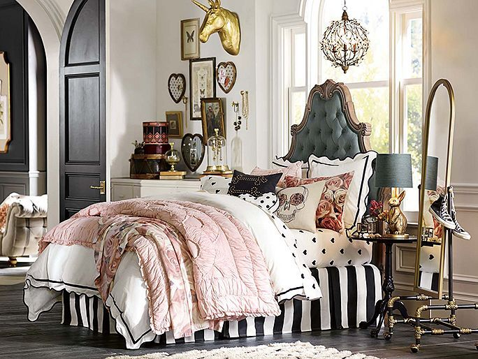 "Inspiration for my new bedroom - not a teen but i don't care! Love the pastel ""ballerina"" pink with black white & charcoal accents- I love the PBteen Emily & Meritt Parisian Bedroom on pbteen.com"