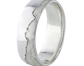 Custom Coast Wedding Ring, Sterling Silver Wedding Band for Men Made with Lake Shoreline or Ocean Coastline of Your Choice
