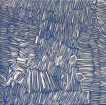 Nyapanyapa Yunupingu, 'Birrka'mirri', 2012, linocut. Printers: Annie Studd and Ruby Djikarra Alderton. Buku-Larrnggay Mulka Art Center (Yirrkala, Eastern Arnhem Land).