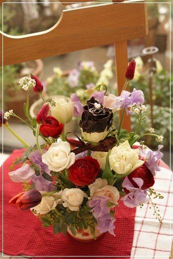 【今日の贈花】Flower noteのvalentine's day 1|Flower note の 花日記 (横浜・上大岡 アレンジメント教室)