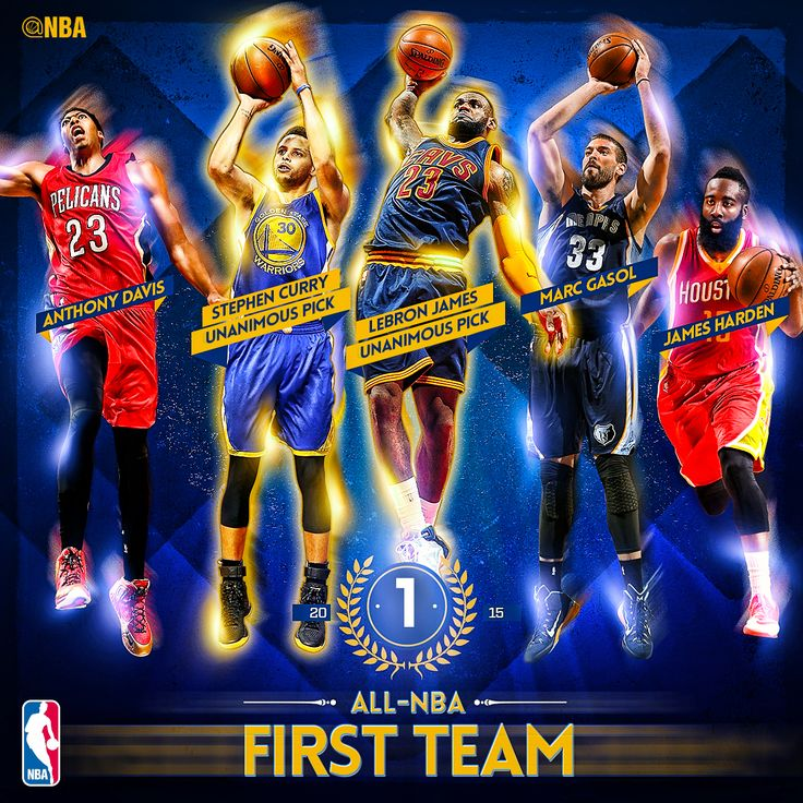 The All-NBA First team: Steph Curry, James Harden, LeBron James, Anthony Davis & Marc Gasol!
