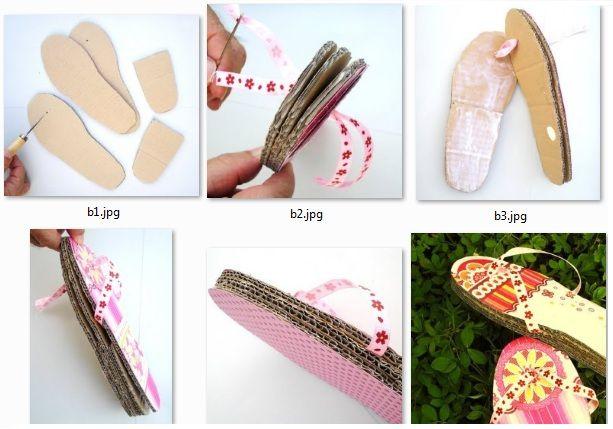 Cómo hacer sandalias con una caja de cartón