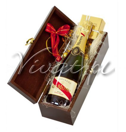 Kosz Świąteczny Karnawał Christmas Gift Box by Vivat http://www.vivat.pl/478,kosz-swiateczny-karnawal.html  Szampan G.H. Mumm Brut Cordon Rouge Francuskie trufle czekoladowe naturalne, Mathez 55 g
