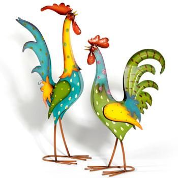 Hand Painted Metal Rooster ~ Garden Art Sculpture from Earth Homewares