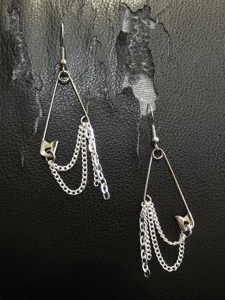 Silver and Cold- Safety Pin Earrings