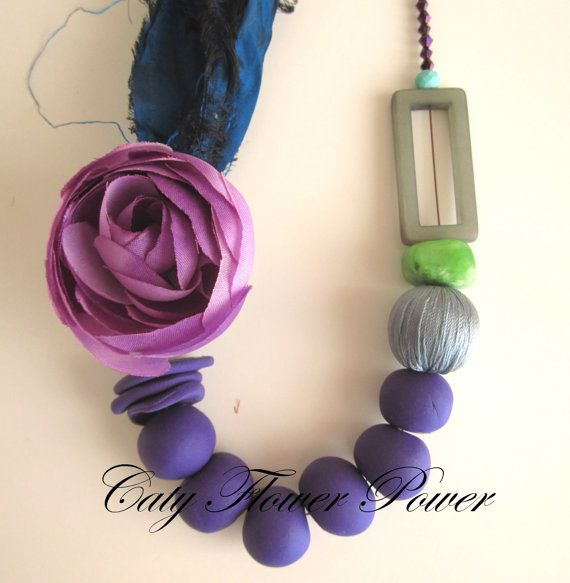 Flower Necklace Purple Fimo Necklace Bohemian by catyflowerpower
