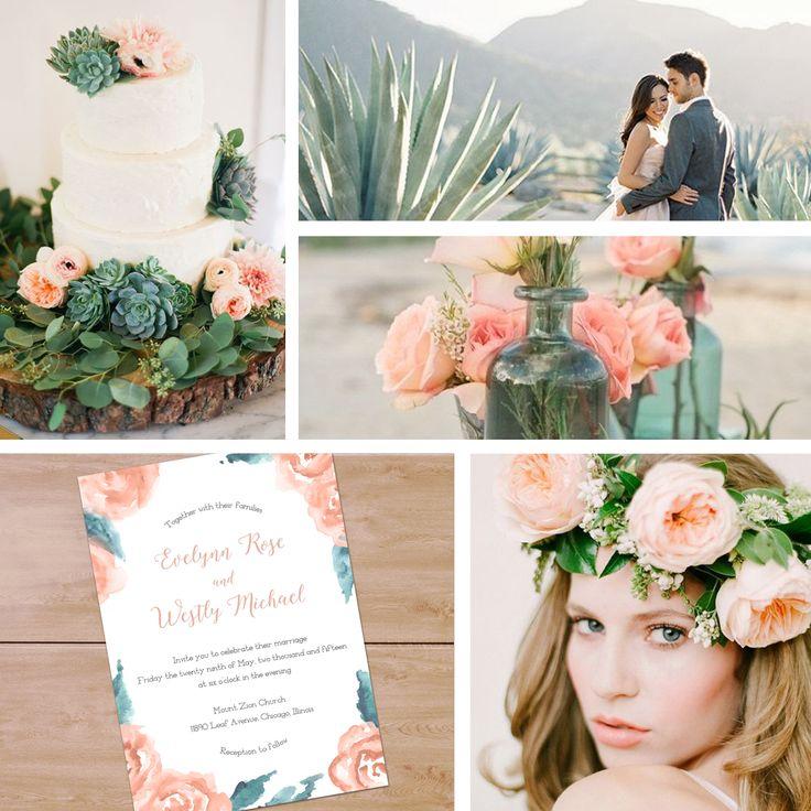 Romantic peach and grayed jade wedding color inspiration