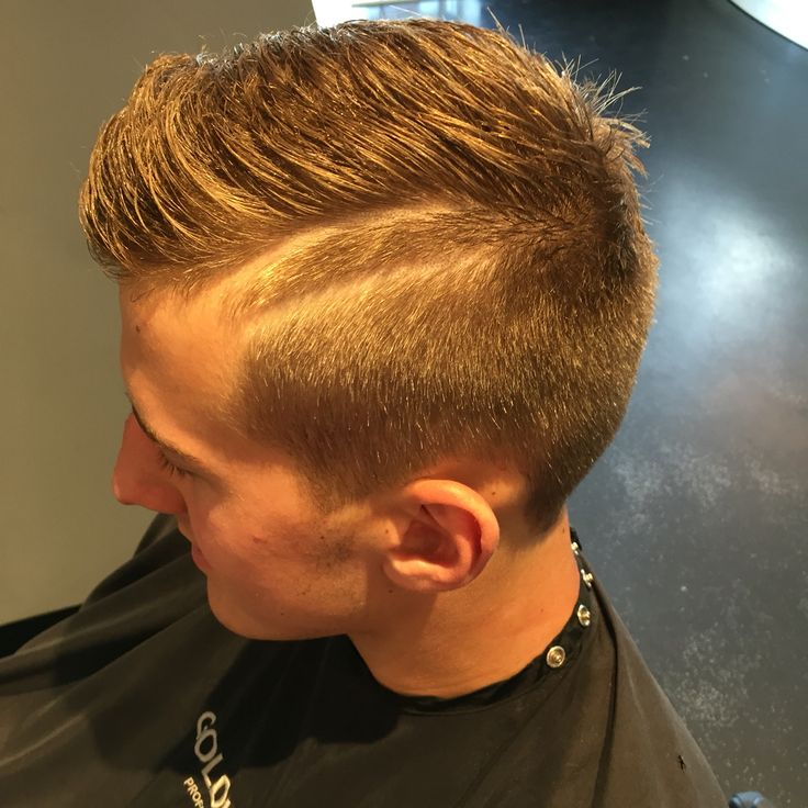 Men S Fade With Double Hard Part Hard Part Haircut