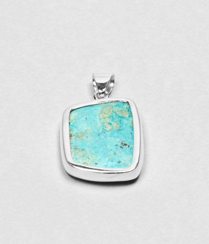 Handmade spark rainbow pendant, silver and turquoise