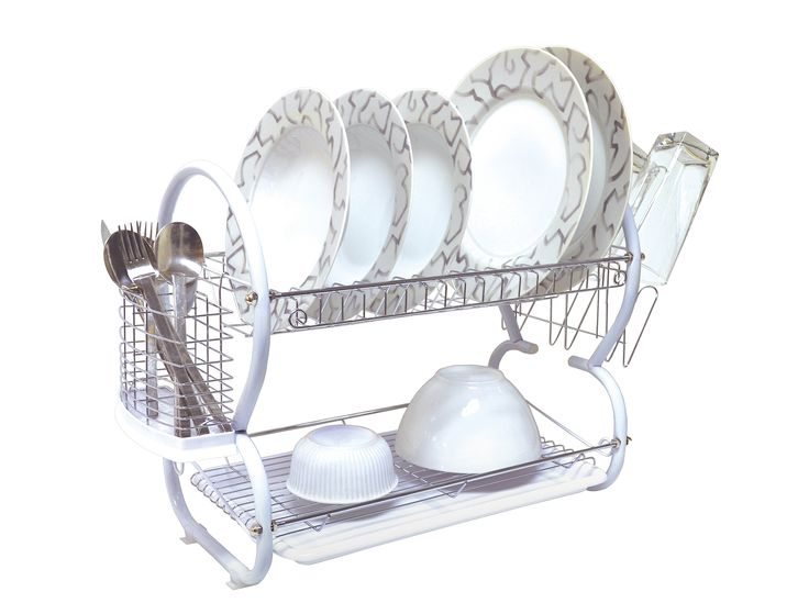 Two Tier Dish Rack with Plastic Tray in White