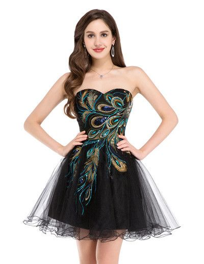 Short Prom Dress 2016 Grace Karin Sexy Black White Peacock Prom Gowns Tulle Robe De Cocktail Special Occasion Dress Ball Gown