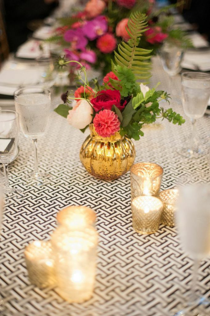 Chic wedding centerpiece with unique table number! http://www.modwedding.com/2014/09/07/charming-new-york-winery-wedding-true-event/