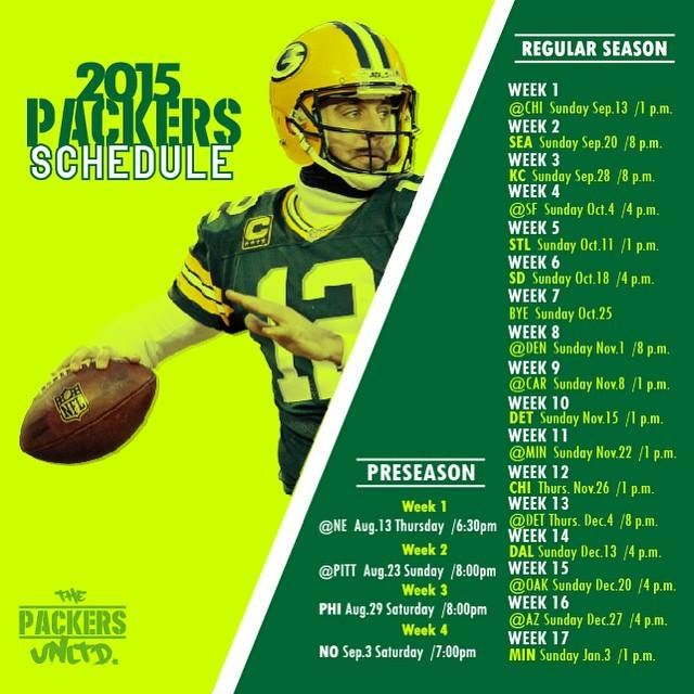 2015 Packers Schedule