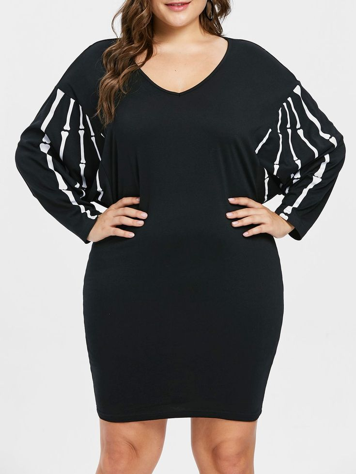 Casual Dresses, Halloween Dolman Sleeve Plus Size V Neck Dress