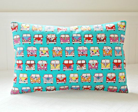 camper van decorative pillow cover blue pink  by LittleJoobieBoo, £15.50