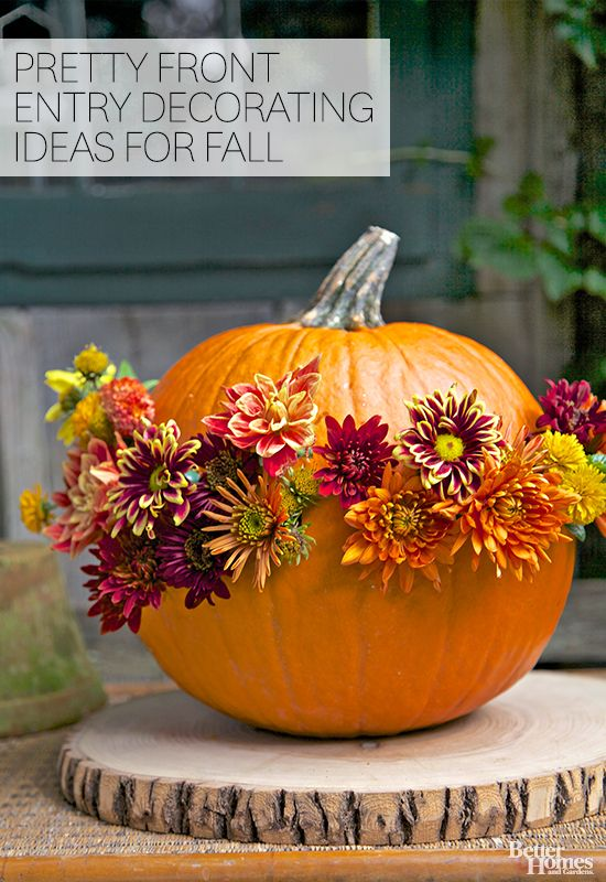 pretty front entry decorating ideas for fall flowering pumpkin decoration - Fall Pumpkin Decorations