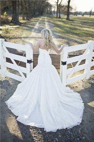 satin wedding dress - country farm wedding