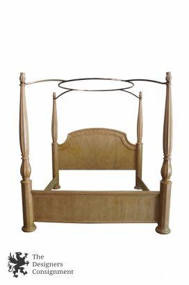stunning 4 poster king size canopy bed by bernhardt furniture pickled oak vtg