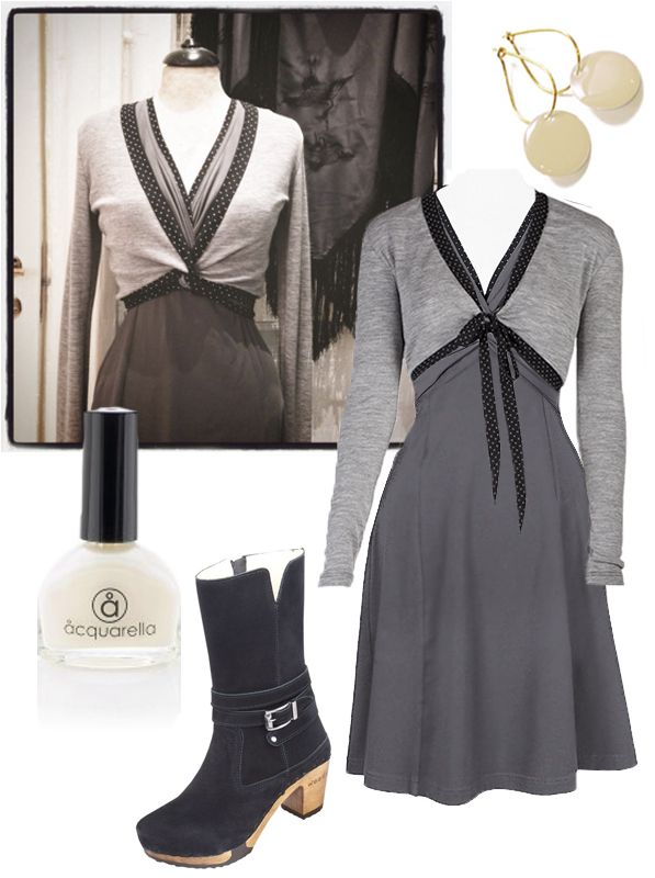 """Ecoutures idea of a wintertime: Our """"Twis""""dresswith the Wrap blouse and perhaps a silk-shawl. Accessories: Our Off-white Dot-earrings. We recommend these """"Mandy"""" boots from Woody. Aquarella - And the only truly safe nail polish that is both water-based and non-toxic."""
