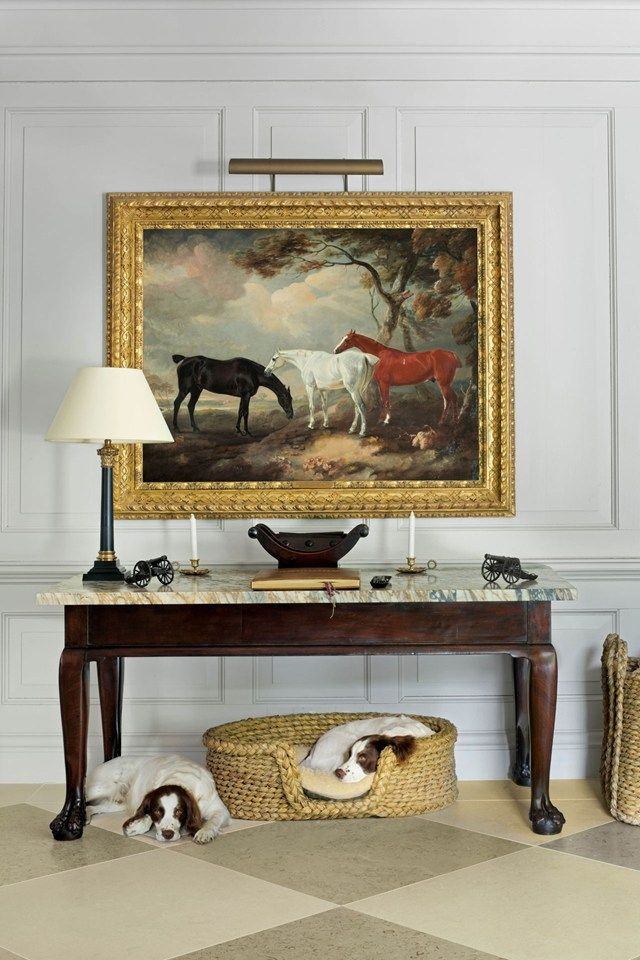 The 143rd Kentucky Derby is Saturday, and I have horses on my mind. I have alwaysloved equestrian art… It is quintessentially English and a classic design element for the timelessly elegant home. Actually, drawings of horsescan be dated back to 17,000-plus-year-old cave paintings at Lascaux, France. It doesn't get any more old schoolthan that! Below …