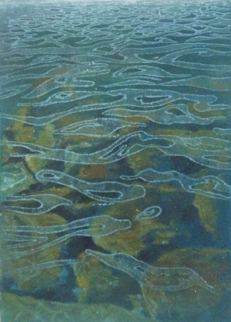 Water Patterns Monoprint with transparent woodcut print of ripples