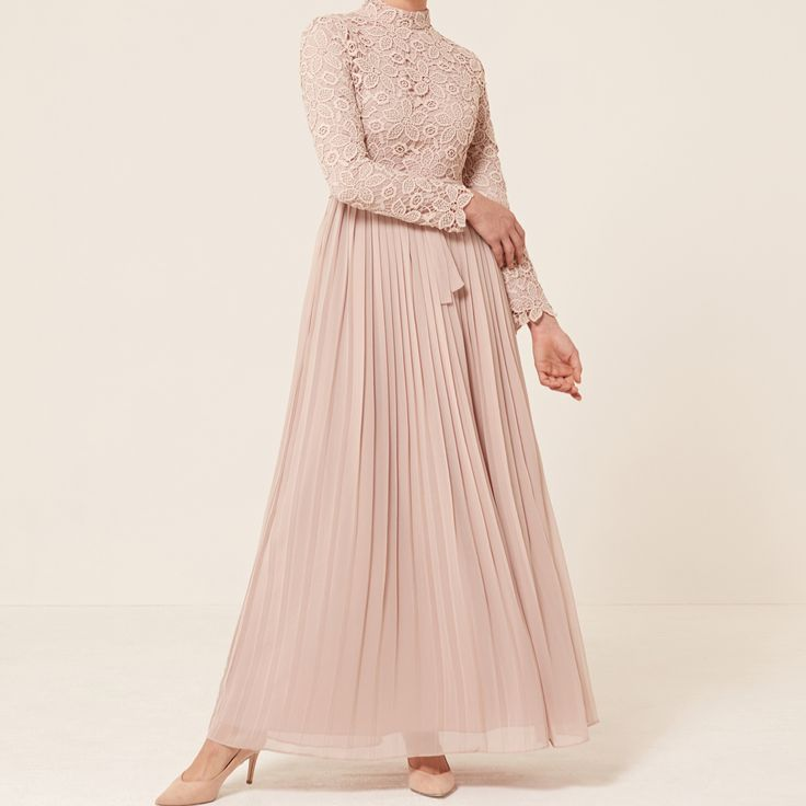 INAYAH | EID '17    Pink Smoke Lace and Pleat Gown    www.inayah.co