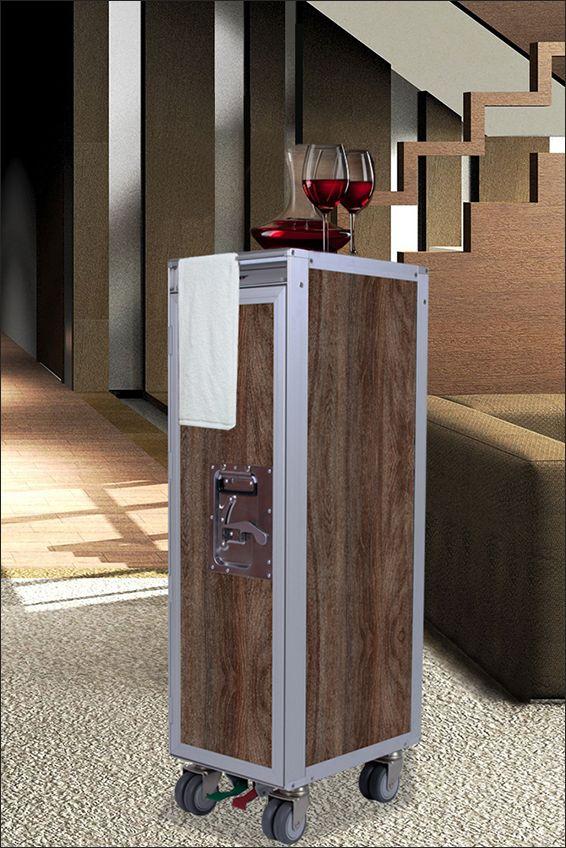 SkyCart Cherry Finish. The SkyCart can be customized to fit any home decoration style.   #HomeWineBar #RollingWineBar.  - www.myskycart.com