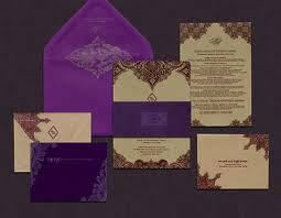 Purple and Gold Wedding Stationary