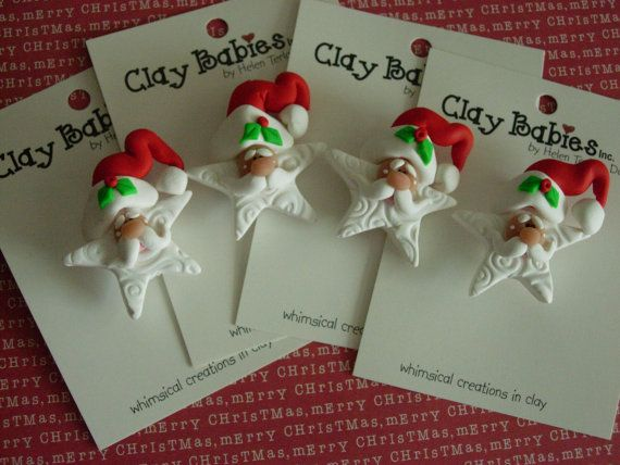 Can you say ADORABLE? Polymer Clay Fancy Beard STAR SANTA PIN by ClayBabiesInc on Etsy, $7.95