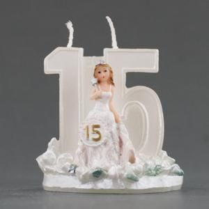 Sweet Fifteen Girl White Candle - Quinceanera Party Favor