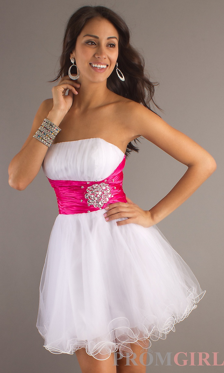 Short white dress prom girl