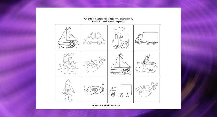 Pracovný list na tému dopravné prostriedky. Deti majú za úlohu vybrať v každom…
